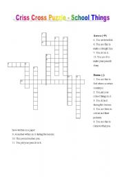 Criss Cross Puzzle- School Things