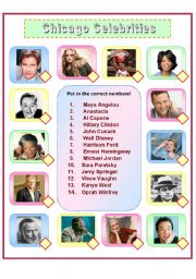 English Worksheet: Chicago Celebrities Quiz (including mini biographies)