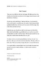 English Worksheets: bad temper