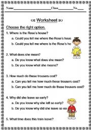 English Worksheets: Indirect questions
