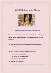 English Worksheets: Interviewing Rihanna
