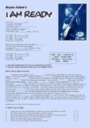 English Worksheets: I Am Ready by Bryan Adams