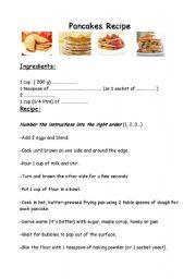 English Worksheet: Worksheet Pancakes recipe