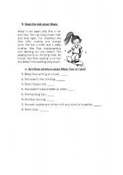 English Worksheets: True or False