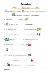 English Worksheets: Conjunctions_and_because_but
