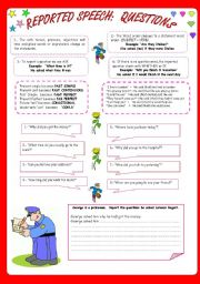 English Worksheets: REPORTED SPEECH: QUESTIONS