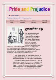 Pride and Prejudice - Mr Collins´s proposal - CLOZE activity - 7 pages. Montypython.