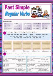 English Worksheet: Past Simple of Regular verbs (all forms)