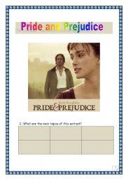 Pride and Prejudice - Film analysis- Comprehensive project - 4 tasks - 4 pages.