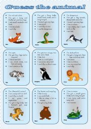 English worksheet: Speaking cards - Describe and guess the animal (two tasks, three pages) *** fully editable***