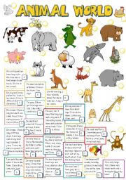English Worksheets: ANIMAL WORLD (B&W)