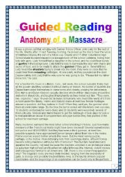 English Worksheet: Guided reading - Anatomy of a massacre - Bowling for Columbine - COMPREHENSIVE PROJECT (15 tasks - 10 pages with key)