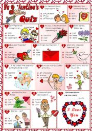 English Worksheet: VALENTINE´S QUIZ
