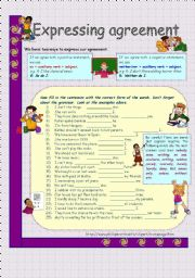 English Worksheet: Expressing agreement * key is included