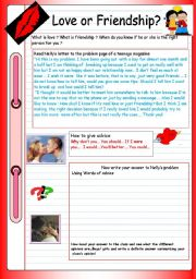 English Worksheet: Teenagers´ problems: Love or frienship?