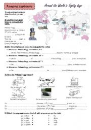 English Worksheet: Famous explorers : Phileas Fogg, Christopher Columbus and James Cook - *KEY ANSWERS + FULLY  EDITABLE*
