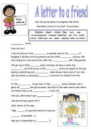 ESL Kids Worksheets A LETTER TO A FRIEND - Birthday invitation letter to a friend in english