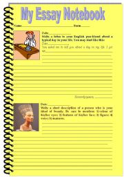 English Worksheets: My Essay Notebook