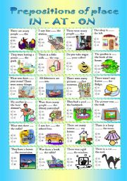 English Worksheet: Prepositions of place IN-AT-ON