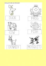 English Worksheet: DUCK; FROG COW FISH DONKEY MOSQUITO, KINDERGARTEN