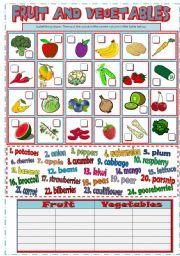English Worksheet: FRUIT AND VEGETABLE (B&W + KEY)