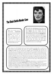 English Worksheets: The Black Dahlia Murder Case Reading Comprehension