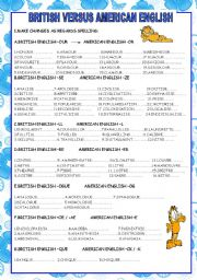 English Worksheet: BRITISH VS AMERICAN ENGLISH :SPELLING DIFFERENCES (3 PAGES)