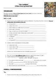 English teaching worksheets: The landlady - Roald Dahl