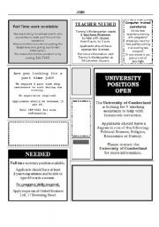 English Worksheet: Job ads and candidate profiles - reading activity