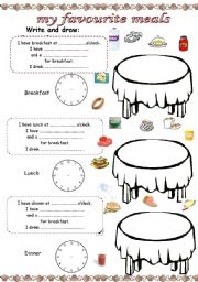 English Worksheet: My favourite meals