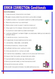 English Worksheets: ERROR CORRECTION - CONDITIONALS