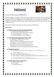 English Worksheet: FREEGANS: A Listening activity