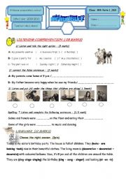 English Worksheet: 8TH FORM MID TERM TEST2