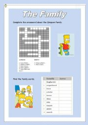 English Worksheet: The Family crosswords