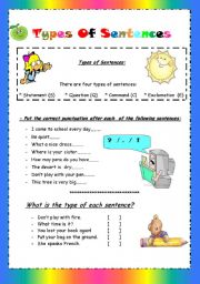 English Worksheet: Types of sentences ( statement/ question / command/ exclamation)