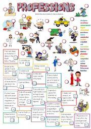 English Worksheets: PROFESSIONS (B&W)