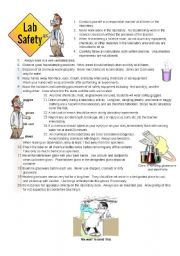 English Worksheets: Safety in a lab