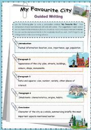 English Worksheet: My Favourite City - Guided Writing