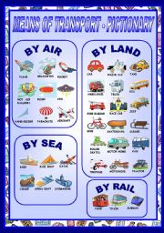 English Worksheet: MEANS OF TRANSPORT - PICTIONARY