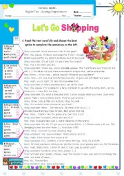 English Worksheets: Shopping for Clothes  -  Reading Comprehension Test