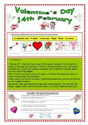 English Worksheet: Valentine´s Day - 14th February (editable & key)