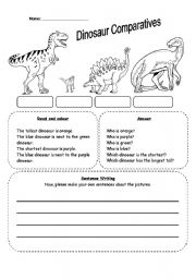 dinosaur comparatives esl worksheet by seong83. Black Bedroom Furniture Sets. Home Design Ideas