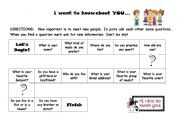 English Worksheets: I want to know about you