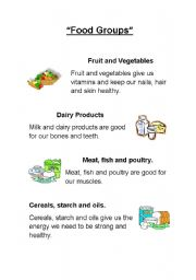 English Worksheet: Food Groups: Reading, Matching and Number.