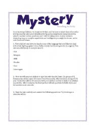 English Worksheet: Reading activity, Mistery and detectives