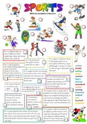 English Worksheets: SPORTS (B&W + KEY)