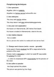 English Worksheet: Paraphrasing techniques
