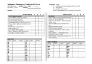 English Worksheet: Progress Report for kindergarten skills