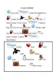 Winter Rebus Esl Worksheet By Creilly28
