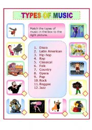 English Worksheet: TYPES OF MUSIC